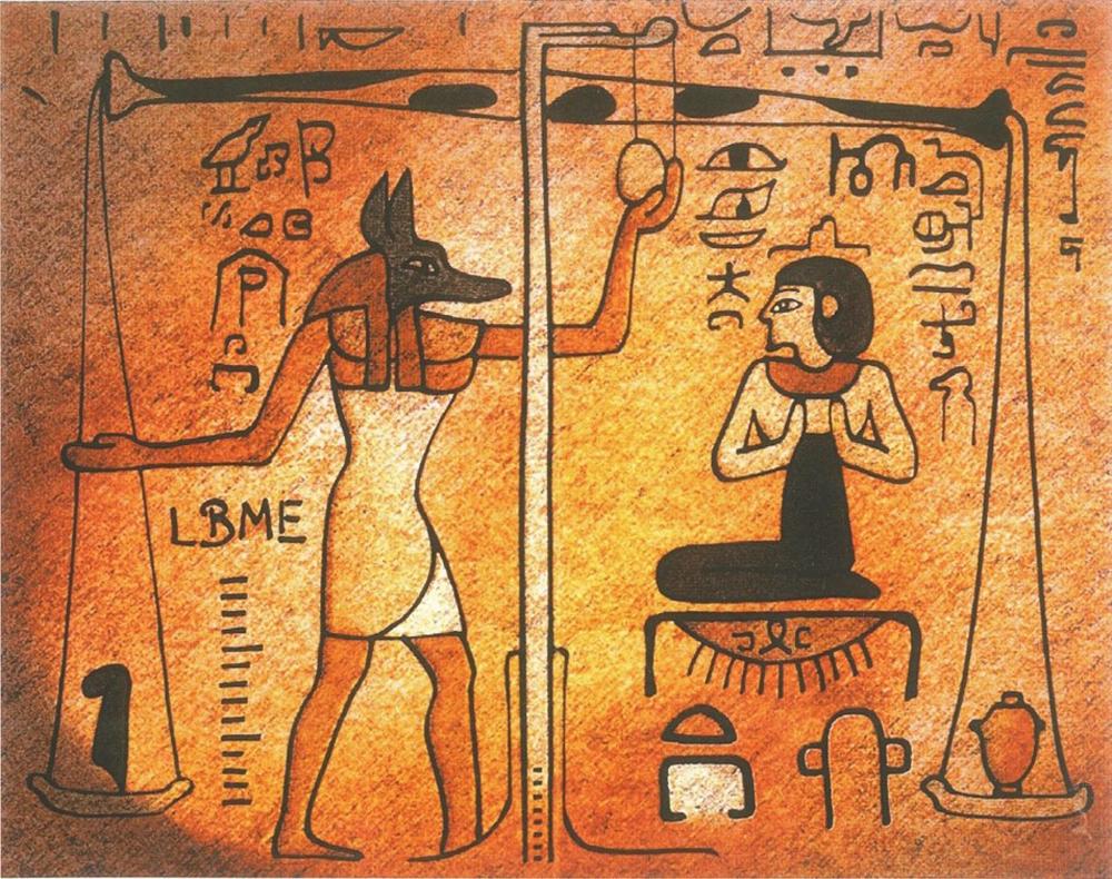 Abbildung einer einfachen Balkenwaage. Es zeigt das sogenannte Totengericht oder auch Seelenwägung.