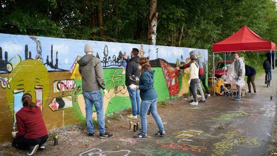 Graffitiaktion an einer Wand